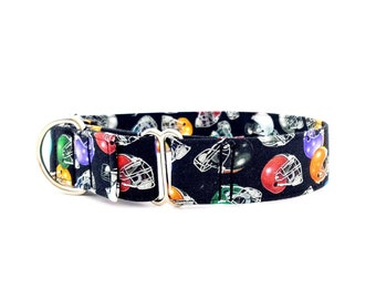 """Football Dog Collar Martingale Style Football Helmets Size XS-XL- Adjustable 1 inch, 1.5 inch and 2"""" width"""