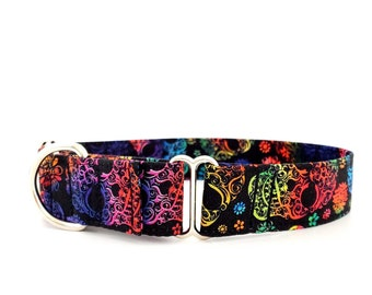"""Martingale Dog Collar Rainbow Sugar Skulls Halloween limited edition ready to ship size M and L Adjustable 1"""", 1.5 inch and 2 inch wide"""