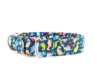 Martingale Dog Collar Dinosaurs Scattered Dinos on Teal  - Size XS-XL- Adjustable - 1 inch, 1.5 inch or 2 inch width