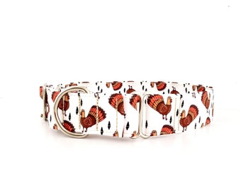Thanksgiving Dog Collar Martingale Turkey Gobbler Fall Food Print Size M-XL Adjustable 1.5 inch or 2 inch wide