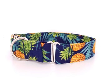 """Martingale Dog Collar Tropical Hawaiian Pineapples Blue Size XS-XL Adjustable 1"""", 1.5 inch or 2 inch width"""
