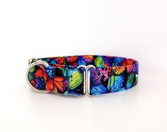 "Martingale Dog Collar Hippie Rainbow Butterflies Pride LGBTQIA - Size XS-XL- Adjustable - 1"", 1.5 inch or 2 inch wide"