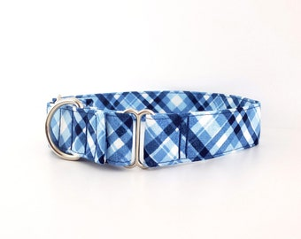"""Martingale Dog Collar Classic Blue Jean Blue Jeans Tartan Plaid Size XS - XL 1"""" 1.5"""" and 2 inch width"""