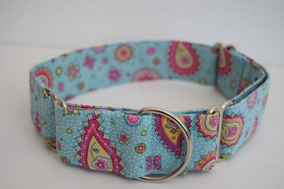 Martingale collier de chien Paisley Girl - taille XS-XL-réglable - 1 pouce, 1,5 pouce et 2 pouces de largeur