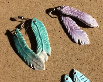 Ceramic thin Feather Earrings