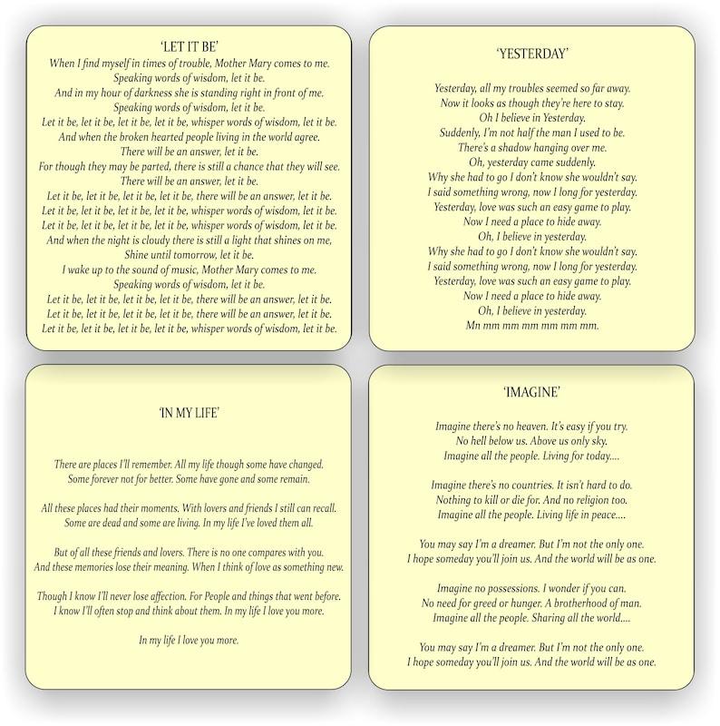 Karaoke Coasters - 4 classic Beatles (Lennon & McCartney) lyrics