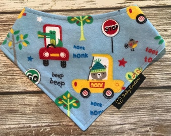 "Infant-Toddler Animals & Cars ""beep beep""  Bandanna Bib (Super Absorbant!)"