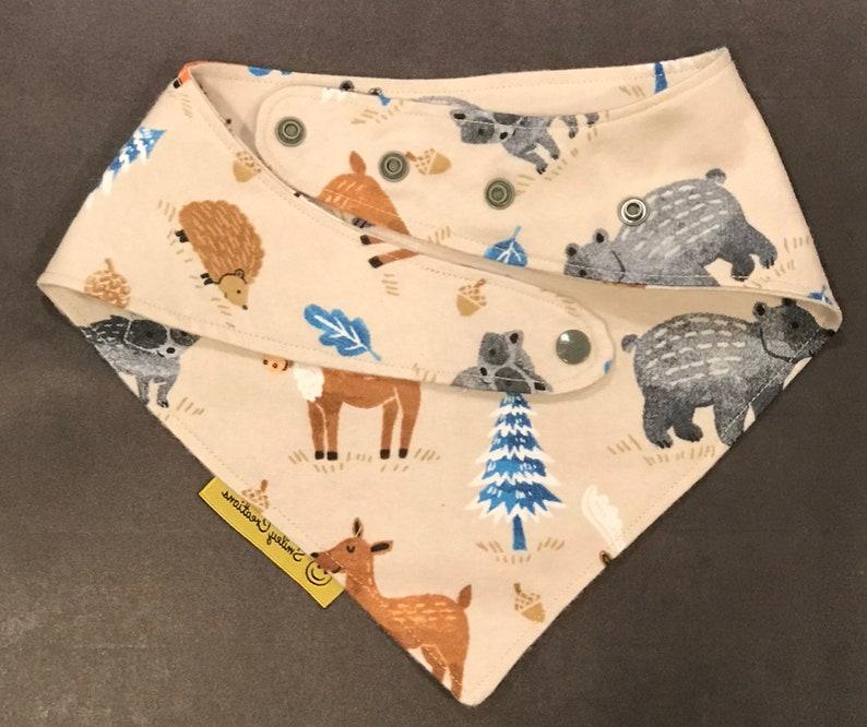 Dog Bandana Baby Bandana Baby Bib Cotton Flannel With Snaps Cat Bandana Outdoor Woodsy Deer Fox Moose Leaves Bandana