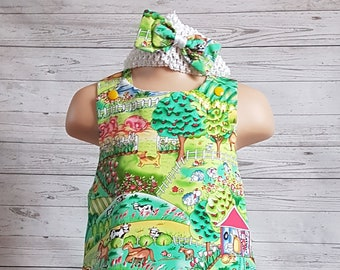 Lovely animal print cotton dress, Hand made, 3-4 year old, with headband.