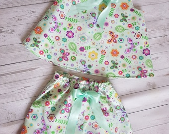 Lovely little top and shorts. Handmade in pale green cotton.