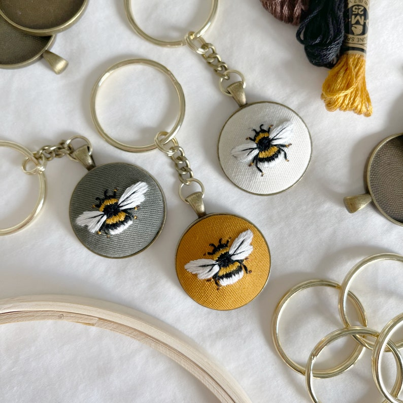 Hand Embroidered Bee Bumblebee Keychain Purse Charm Accessories