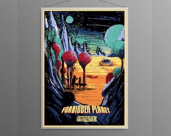 Forbidden Planet Retro Classic Sci Fi Planet Starship Monster Movie Film Artwork Alternative Graphic Design Minimal  Poster
