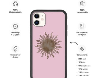 Sun iPhone case, Biodegradable phone case, Mystical pink and brown iPhone case
