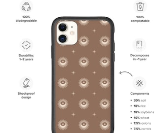 iPhone case 11, Biodegradable phone case, Sun and Moon pattern case for phone