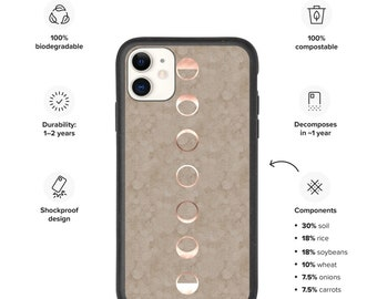 Eco Biodegradable iPhone case, moon phases phone case