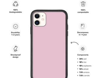 Biodegradable phone case, pink phone case, pastel pink iPhone case