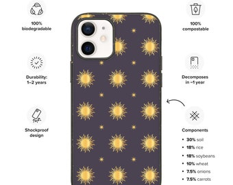 Biodegradable phone case, Eco friendly iPhone case with gold sun pattern