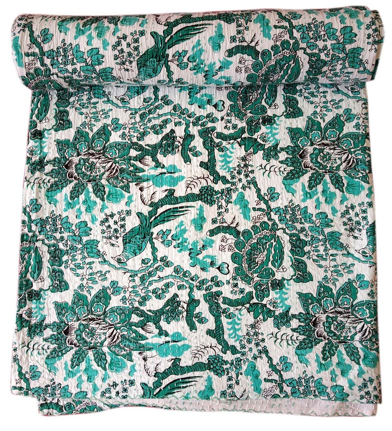 Kantha Quilt Floral Ralli 100/%Cotton Blanket Throw Green Bed cover Bird Print