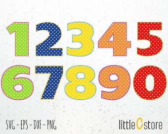 Numbers Polka Dot - Instant Download - Cutting Files Svg, Dxf, Eps and Png format.s
