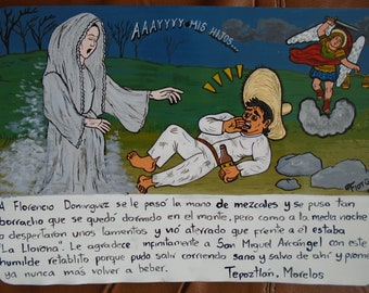 Ex voto vote altarpiece mexican painting handmade theme frida etsy