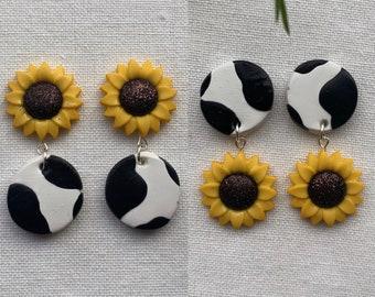 Sunflower Cow Print Earrings