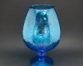 Empoli Large Aqua Blue Snifter - Turquoise Teal Italian Art Glassware 10.5 quot H - Bubble Circle Design Optic Compote - Brandy Balloon Vase