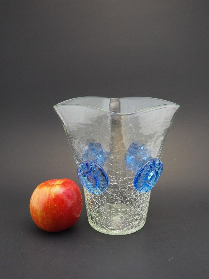 Vintage Blenko C439 Clear Crackle Glass Vase with Turquoise Blue Prunts  Pre-Designer