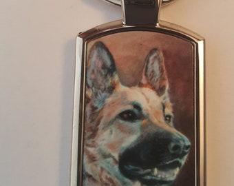 Artistic prints of dog and cat portraits on keyrings | German Shepherd | Maine Coon | Cocker Spaniel