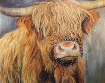 Oorlich Coo | Scottish Highland Cow Wall Art | Highland Cow By Christopher Amos | Highland Coo Large Canvas Print