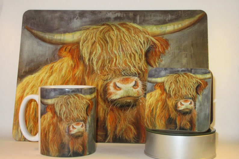 Oorlich Coo Merchandise  Highland Cow Placemats Coasters and image 0