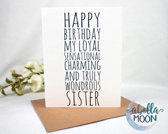 Happy Birthday To Sister Greeting Card Birthday Card Funny Etsy