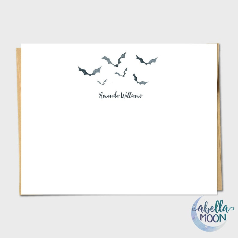 Set Of 10 Halloween Watercolor Bats Personalized Note Cards