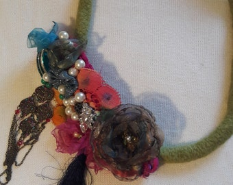 Statement Necklace with Felted wool, Recycled beads and Silks