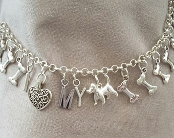 I Love my dog, charm bracelet. Dog lovers. Animal lovers.