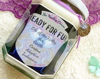 Astrology Crystal Candle - Ready for Fun - Gemini (Botswana Agate, Citrine, Tiger Eye)