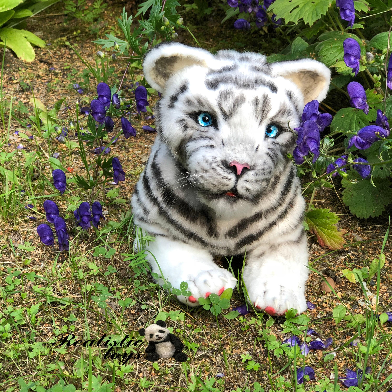 Realistic Toy Siberian White Tiger Plush Stuffed Artist Etsy