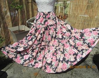 VTG 80s laura ashley  long floral skirt hippy boho
