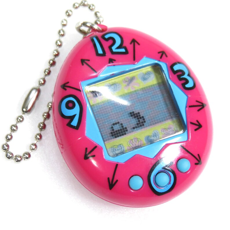 Tamagotchi Original Gen 1 Time Clock Pattern Magenta 1996 Bandai Japan Virtual Pet FS