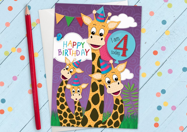 Happy Birthday Greeting Card 4 Years Old