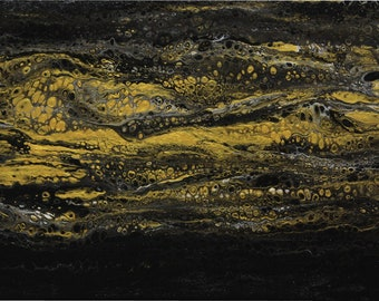 Black & Gold Acrylic Pour - 9x12- Fluid Art - Abstract Art - Psychedelic - Galaxy - Modern Art
