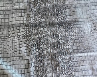 Croco Embossed Grey Leather
