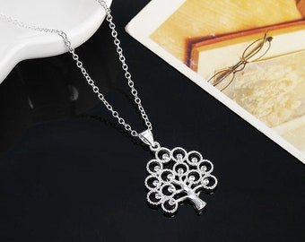 """Beautiful Crystal Tree Of Life Pendant on 18"""" Silver Necklace"""