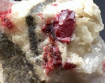Dragons Blood Red Cinnabar with Quartz on Dolomite