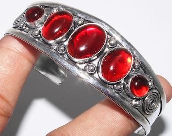 Genuine Garnet Adjustable Silver Leaf Bangle Bracelet; Garnet Cuff Bracelet; January Birthstone Jewelry
