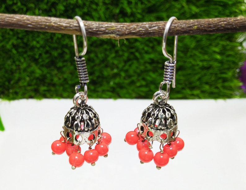 37Cts Nice Design Wedding Earring Indian Traditional Jhumka Dangle Earring Orange Gemstone Beads 925 Sterling Silver Plated Size 1.5