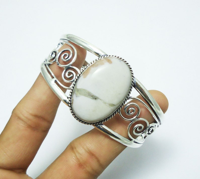 Silver Plated Cuff Gemstone Bangle Adjustable Cuff 925 Sterling Silver Plated Jewelry Handmade Bangle 30gms Natural Scolecite Bangle