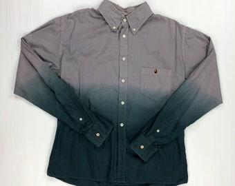 Bape Bathing Ape Fade Vintage 90s Long Sleeve Dress Shirt Size Mens Large