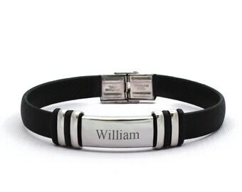 caa4dbd8c26e Men s Stainless Steel Name Engraved Rubber Bracelet