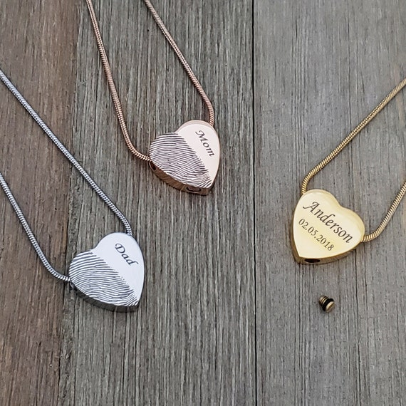 Handprint Cremation Urn Heart Necklace Sterling Silver or Stainless Steel Cremation Ash Remembrance Jewelry Memorial Pendant