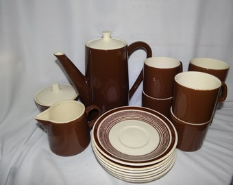 1970s Brown and Ivory Ceramic Coffee Pot Sugar with Lid Creamer 6 Cups and 7 Saucers Perfect condition!